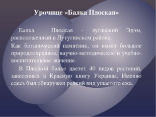 Урочище «Балка Плоская» Балка Плоская - луганский Эдэм, расположенный в Луту