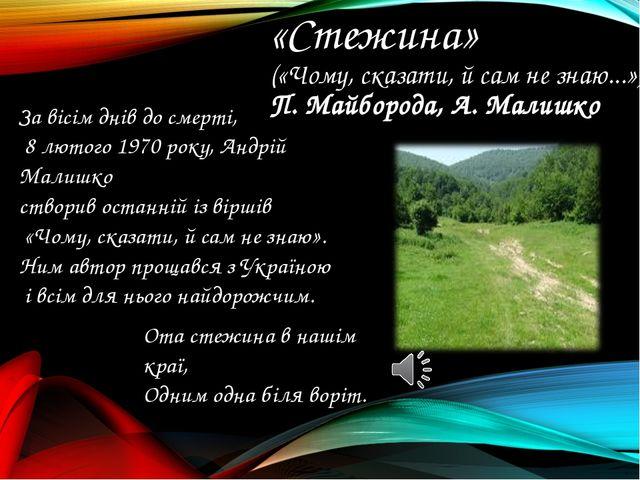 «Стежина» («Чому, сказати, й сам не знаю...») П.Майборода, А.Малишко Ота ст...
