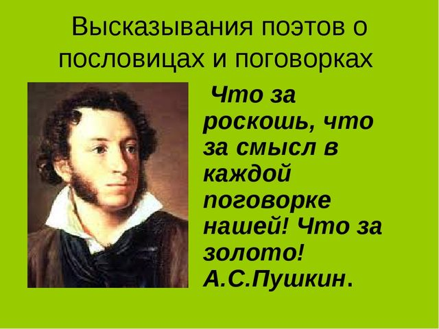 Высказывания поэтов о пословицах и поговорках Что за роскошь, что за смысл в...