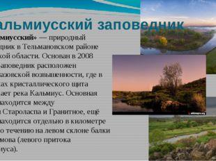 Кальмиусский заповедник «Кальмиусский»— природный заповедник вТельмановском