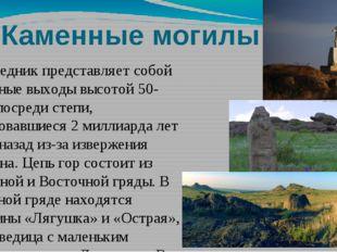 Каменные могилы Заповедник представляет собой скальные выходы высотой 50-70м