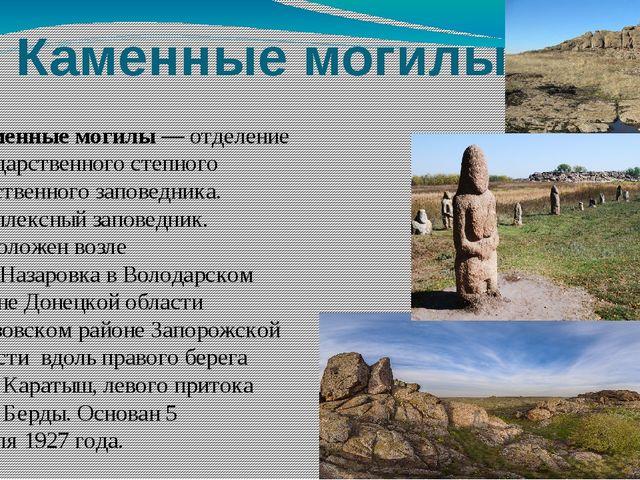 Каменные могилы Ка́менные могилы— отделение государственного степного естест...