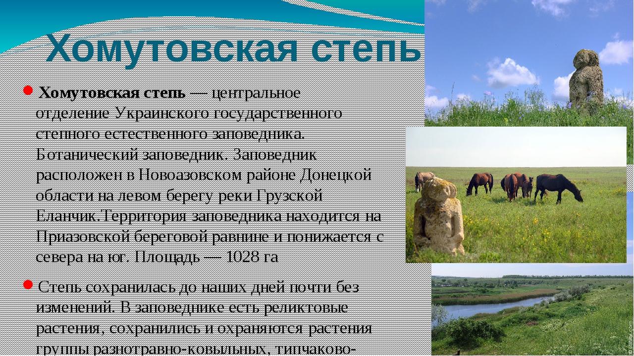 Хомутовская степь Хомутовская степь— центральное отделениеУкраинского госуд...