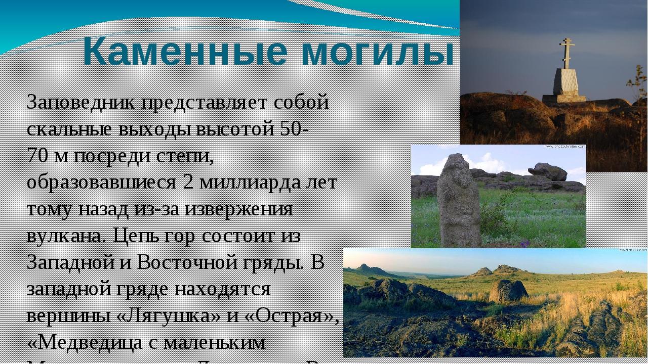 Каменные могилы Заповедник представляет собой скальные выходы высотой 50-70м...
