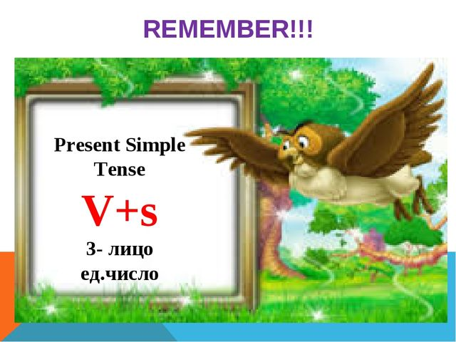 REMEMBER!!! Present Simple Tense V+s 3- лицо ед.число