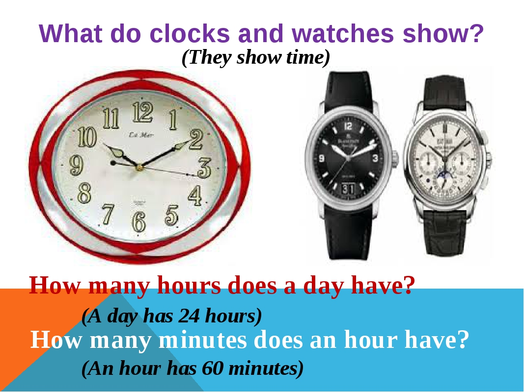 What do clocks and watches show? How many hours does a day have? How many min...