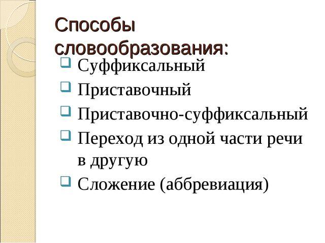 Способы словообразования: Суффиксальный Приставочный Приставочно-суффиксальны...