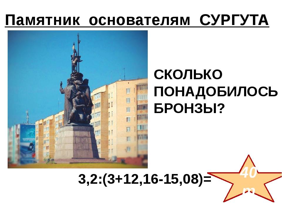 3,2:(3+12,16-15,08)= 40т СКОЛЬКО ПОНАДОБИЛОСЬ БРОНЗЫ? Памятник основателям...