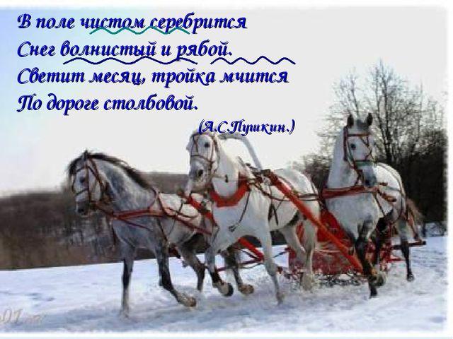 В поле чистом серебрится Снег волнистый и рябой. Светит месяц, тройка мчится...
