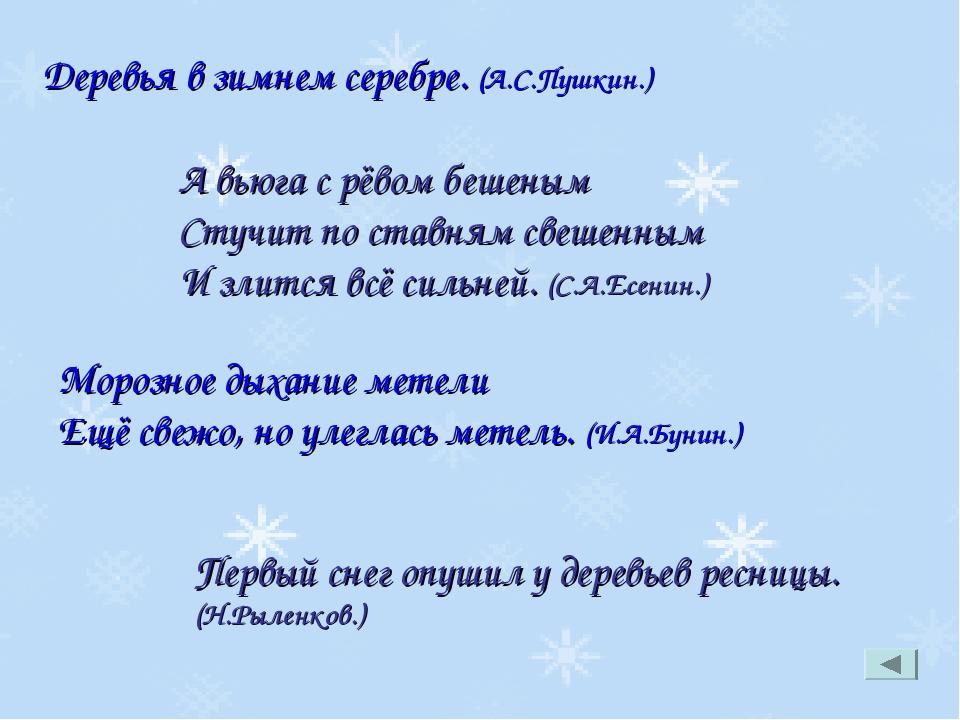 Деревья в зимнем серебре. (А.С.Пушкин.) А вьюга с рёвом бешеным Стучит по ста...