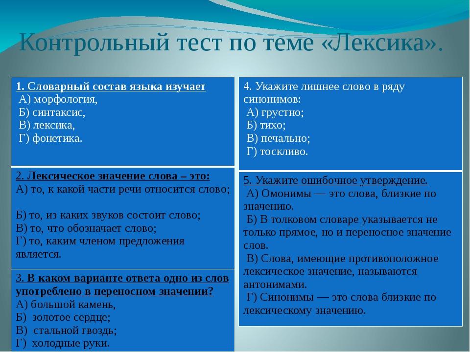 Контрольный тест по теме «Лексика». 1. Словарный состав языка изучает А) мор...