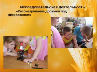 Исследовательская деятельность «Рассматривание дрожжей под микроскопом»