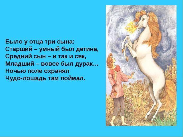 Было у отца три сына: Старший – умный был детина, Средний сын – и так и сяк,...
