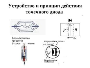 Устройство и принцип действия точечного диода 1-вольфрамовая проволока 2- кри