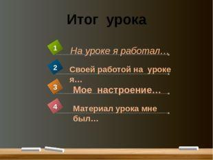 Итог урока Материал урока мне был… 4 На уроке я работал… 1 Своей работой на у
