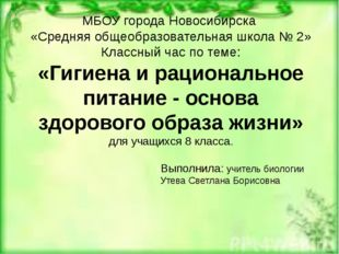 МБОУ города Новосибирска «Средняя общеобразовательная школа № 2» Классный час