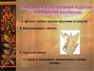 1. Делают грубые бруски-заготовки из дерева 2. Изготавливают «бельё» 3. Грунт