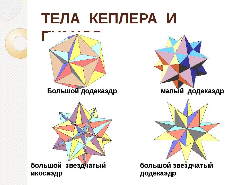 ТЕЛА КЕПЛЕРА И ПУАНСО Большой додекаэдр малый додекаэдр большой звездчатый ик...