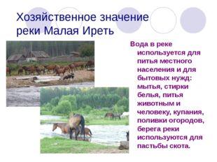 Хозяйственное значение реки Малая Иреть Вода в реке используется для питья ме