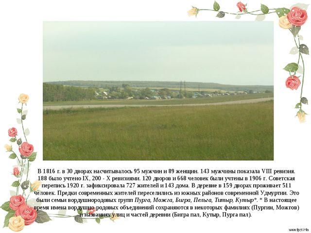 В 1816 г. в 30 дворах насчитывалось 95 мужчин и 89 женщин. 143 мужчины показа...