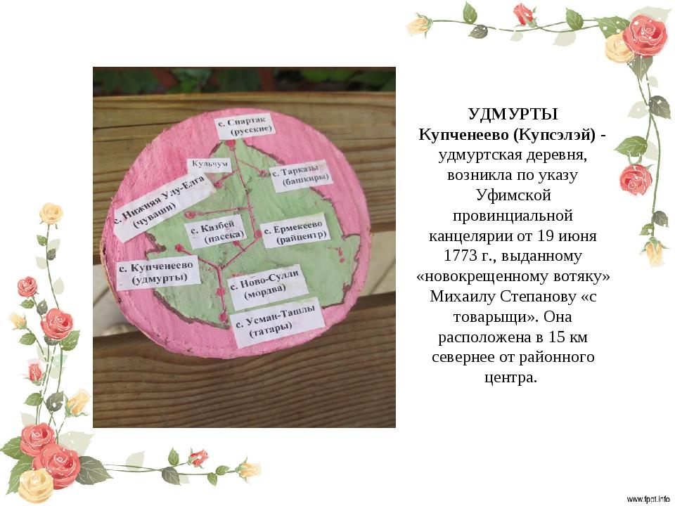 УДМУРТЫ Купченеево (Купсэлэй) - удмуртская деревня, возникла по указу Уфимско...