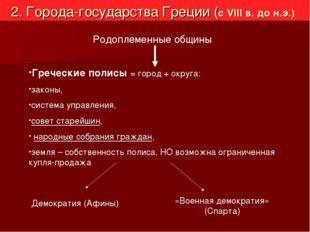 2. Города-государства Греции (с VIII в. до н.э.) Родоплеменные общины Греческ