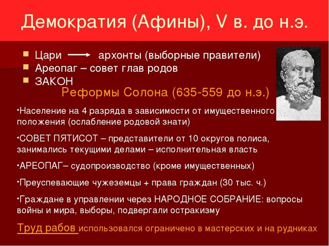Демократия (Афины), V в. до н.э. Цари архонты (выборные правители) Ареопаг –...