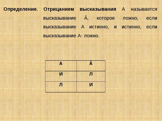 Определение. Отрицанием высказывания А называется высказывание Ā, которое лож...