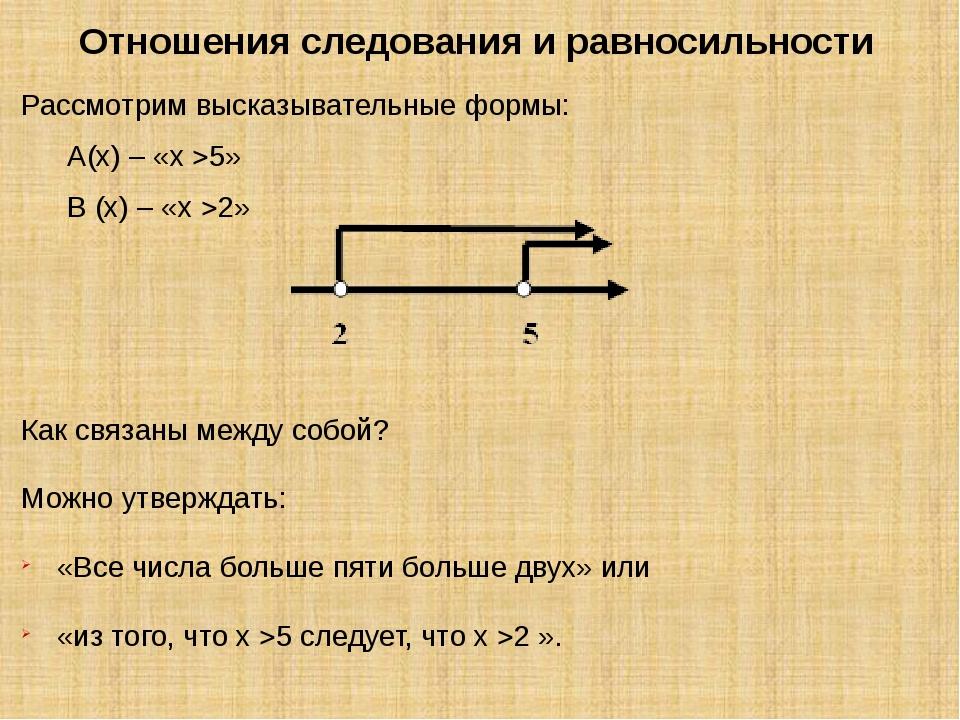 Отношения следования и равносильности Рассмотрим высказывательные формы: А(х)...