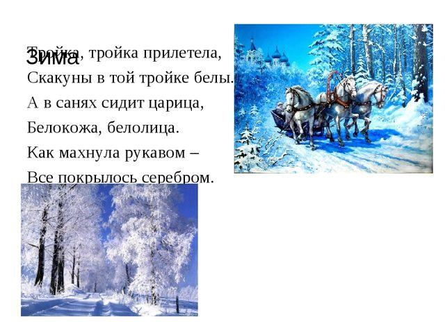 Зима Тройка, тройка прилетела, Скакуны в той тройке белы. А в санях сидит ца...