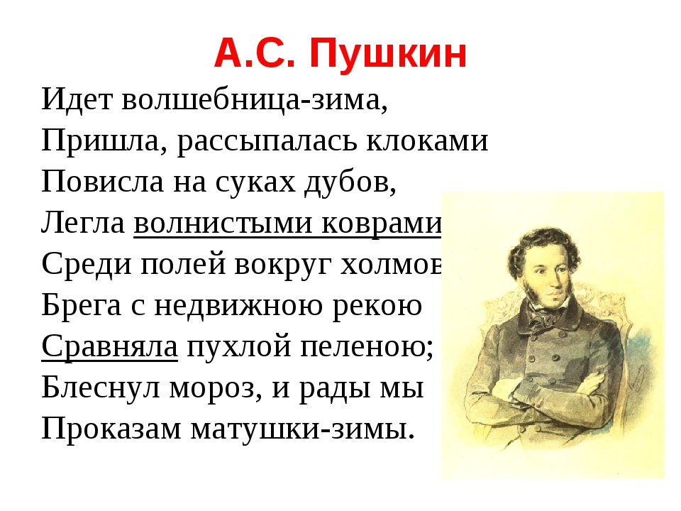 А.С. Пушкин Идет волшебница-зима, Пришла, рассыпалась клоками Повисла на сука...