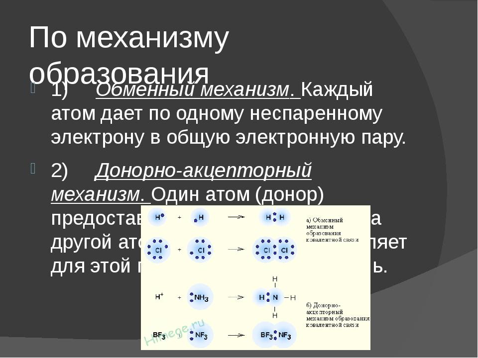 По механизму образования 1)Обменный механизм. Каждый атом дает по одному...