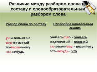 Различие между разбором слова по составу и словообразовательным разбором слов
