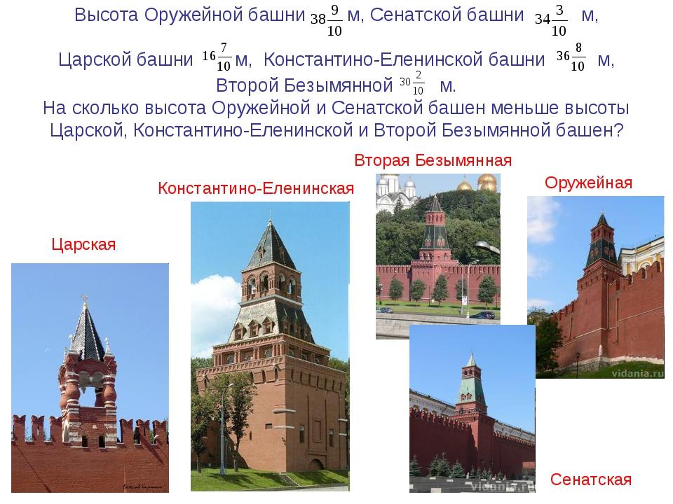 Высота Оружейной башни м, Сенатской башни м, Царской башни м, Константино-Еле...