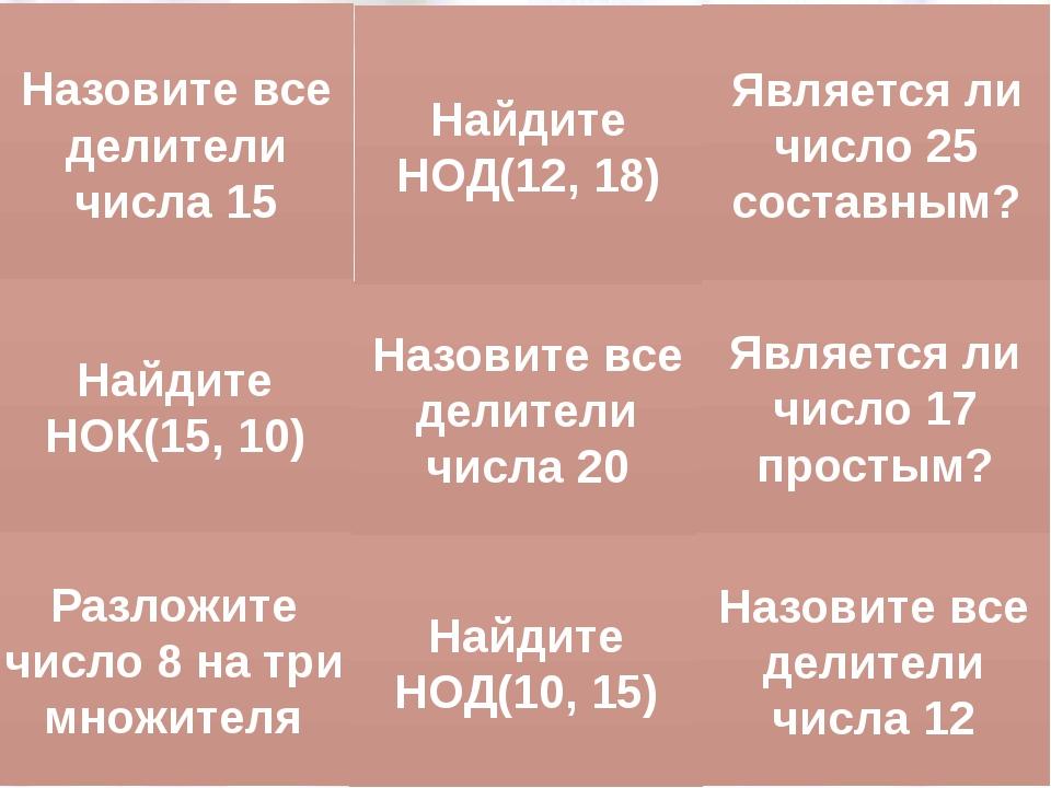 Тема: «Признаки делимости на 2, 5, 10» Найдите НОК(15, 10) Разложите число 8...