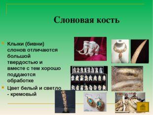 Слоновая кость Клыки (бивни) слонов отличаются большой твердостью и вместе с