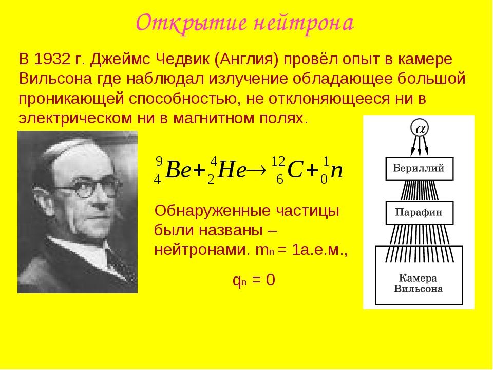 Открытие нейтрона В 1932 г. Джеймс Чедвик (Англия) провёл опыт в камере Вильс...