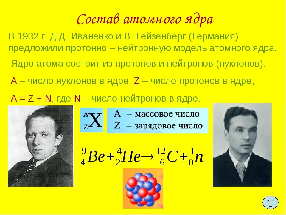 Состав атомного ядра В 1932 г. Д.Д. Иваненко и В. Гейзенберг (Германия) предл...