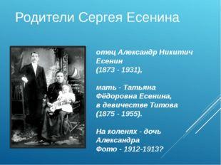 Родители Сергея Есенина отец Александр Никитич Есенин (1873 - 1931), мать - Т