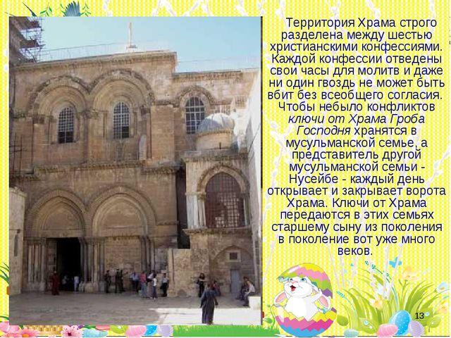 * Территория Храма строго разделена между шестью христианскими конфессиями. К...