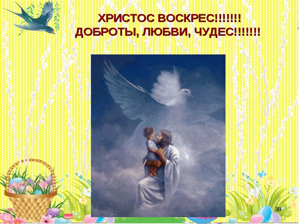 * ХРИСТОС ВОСКРЕС!!!!!!! ДОБРОТЫ, ЛЮБВИ, ЧУДЕС!!!!!!!
