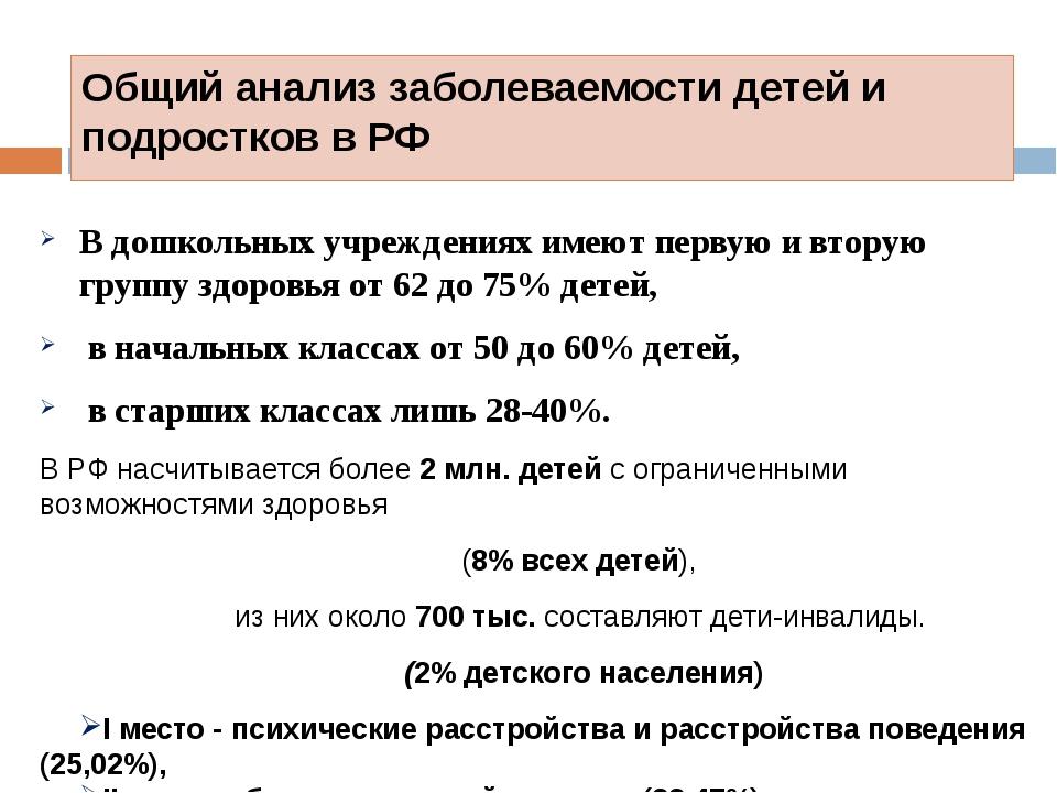 Общий анализ заболеваемости детей и подростков в РФ В дошкольных учреждениях...