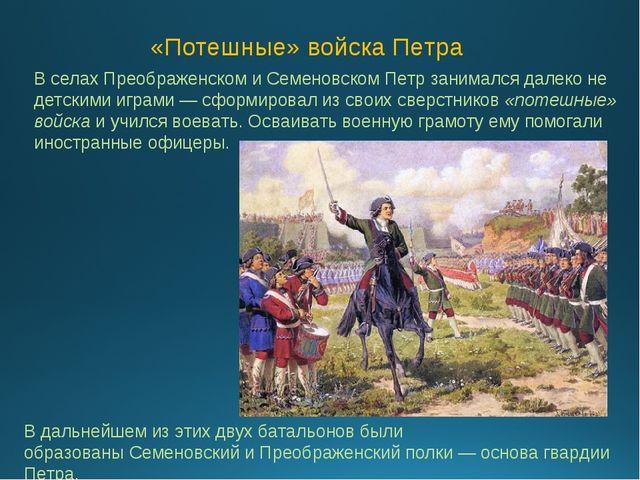 В селахПреображенском и СеменовскомПетр занимался далеко не детскими играми...