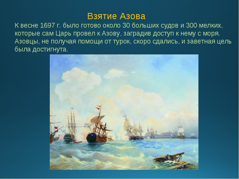 Взятие Азова К весне 1697 г. было готово около 30 больших судов и 300 мелких...