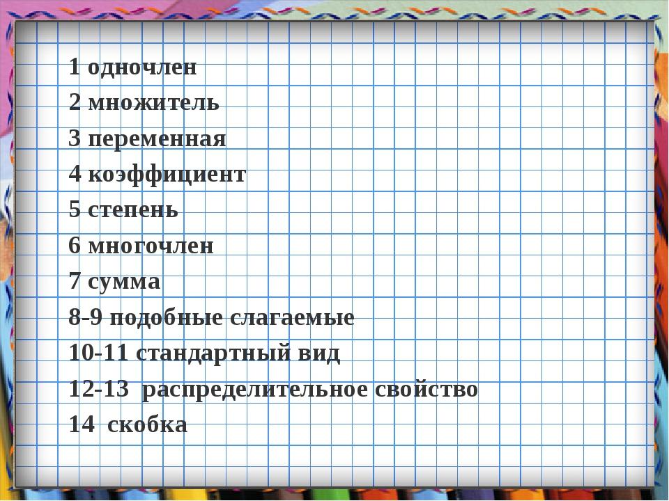1 одночлен 2 множитель 3 переменная 4 коэффициент 5 степень 6 многочлен 7 сум...