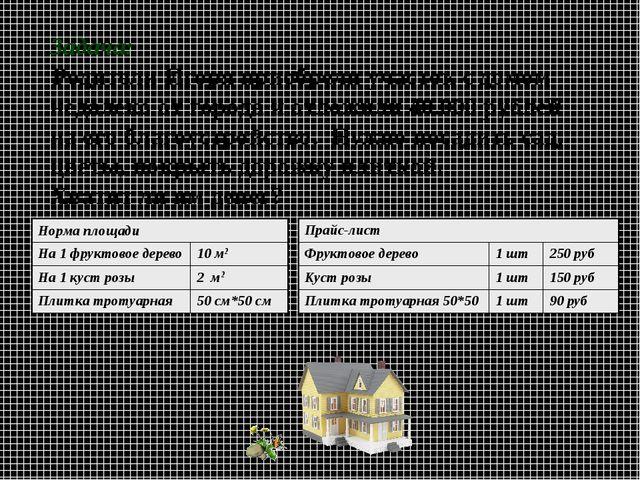 Задача: Родители Игоря приобрели участок с домом недалеко от города и отложи...