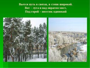 Вьется путь в снегах, в степи широкой. Вот – луга и над оврагом мост, Под гор