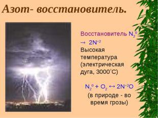 Азот- восстановитель. Восстановитель N20 ® 2N+2 Высокая температура (электри