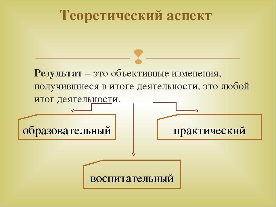 Теоретический аспект образовательный воспитательный практический Результат –...