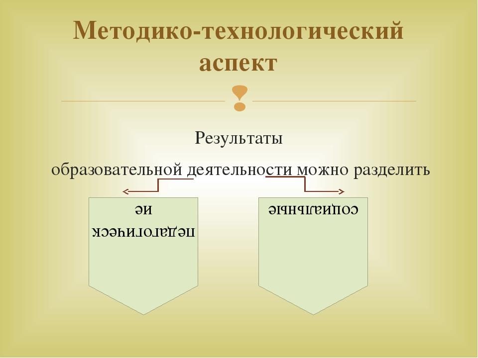 Результаты образовательной деятельности можно разделить Методико-технологичес...
